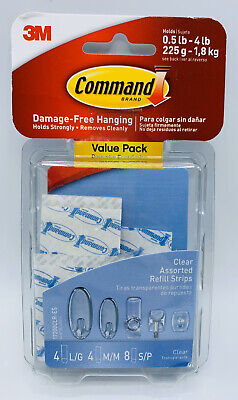 Command Clear Assorted Refill Strip Tape 16-Pack Damage-Free Hanging
