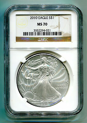 2010 American Silver Eagle Ngc Ms70 Brown Label Ms 70 Nice Coin And Slab