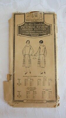 Antique 1920's Pictorial Review Printed, Dress Pattern # 2729 ~