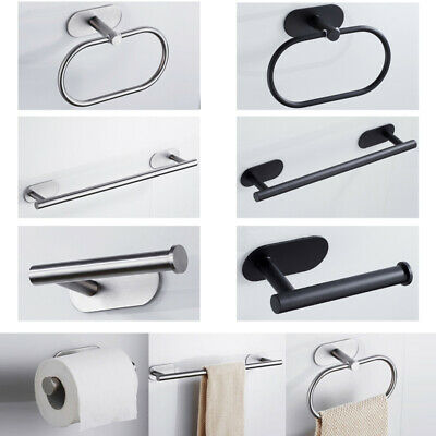 Self Adhesive Toilet Roll Holder Bar Towel Ring Rail Stainless Steel No Drilling