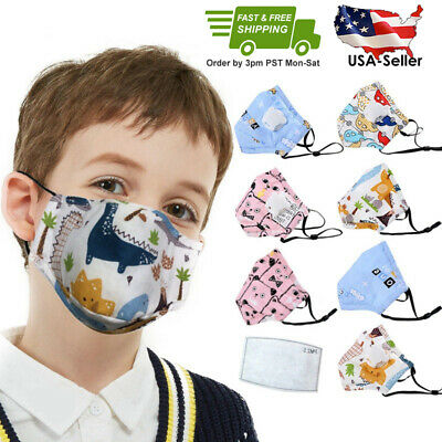 Child Kids Face Mask, Reusable,Washable w/PM2.5 Filter - US Free Fast Shipping
