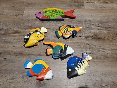 🐠 Wood Carved Tropical Fish Figurine Hand Painted 🐟 Lot 6 Wooden Nautical Deco