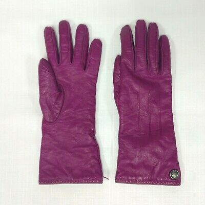 Coach Women's 6.5 Fushcia Pink Soft Leather Mitten Gloves Cashmere Knit Lining