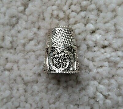 Filigree Sterling Thimble Israel(?) Dimple Top & Filigree Bottom Tested Unmarked