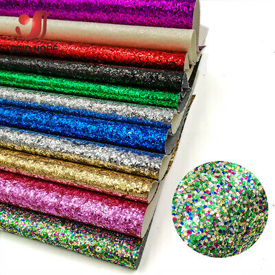 Sparkly Chunky Glitter Fabric iridescent Faux PU Leather DIY Bow Earring Craft