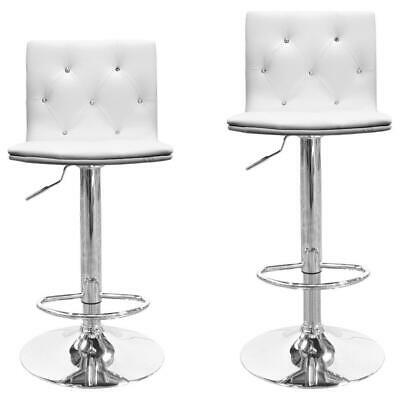 Modern Swivel Bar Stools With Crystals and Tufted Look