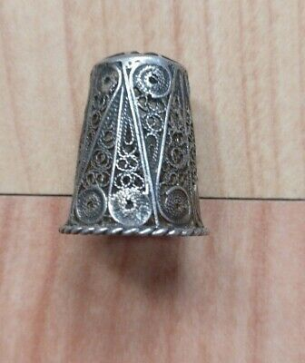 Rare Vintage Silver Filigree Thimble With Maltese Cross.