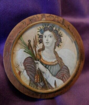 Antique Georgian Wood Snuff Box Hand Colored Portrait Miniature Arch Angel Lith