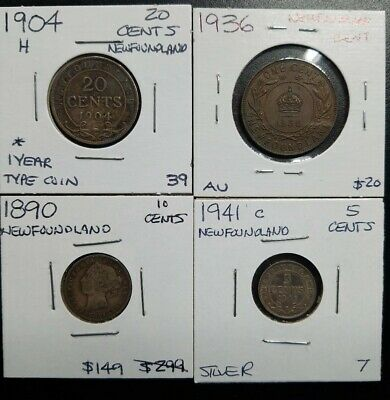 Lot of 4 OLD Canada Coins,  Newfoundland Canadian 1890 ten cents 1904 H 20 cents