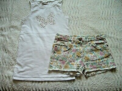 Next Long White Sleeveless Top & Floral Shorts Adj. Waist 8 Years