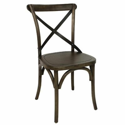 Bolero GG658 Dining Chair in Wood with Metal Cross Backrest - 890 x 495 x 550mm
