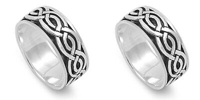 Set of TWO 925 Sterling Silver Celtic Knot Spinner Spin Fidget Ring Band Sz.7-14