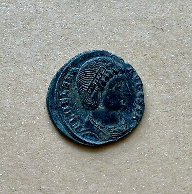 Late roman bronze follis of Saint empress Helena (ca 320-326). A beautiful coin!