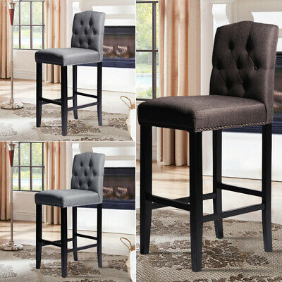 1 2 Kitchen Bar Stools Footrest Breakfast Bar Stools Padded Seat Buttoned Back 82 95 Picclick Uk