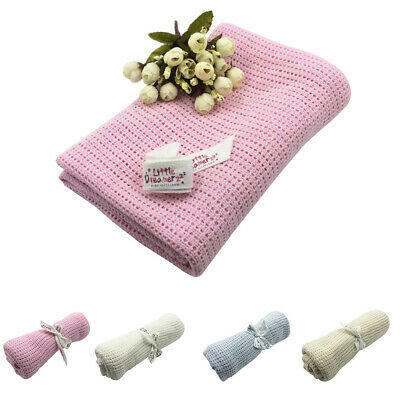 Baby Warm Soft Cotton Solid Color Knitted Crochet Rectangle Blankets 4 Colors