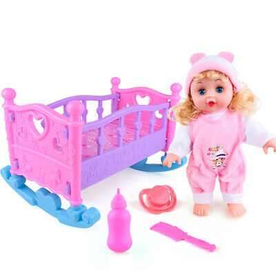 Pink Dolls Rocking Cradle Crib Cot Bed Girls Toy With Mobile Blanket Pillow
