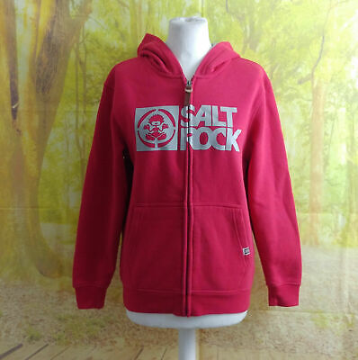 Saltrock 60% polyester 40% cotton full zip red Hoodie. UK Age 11, Age 12, 20 24