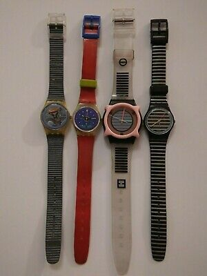 1980's SWATCH Watch lot of 4 untested 1987 1988
