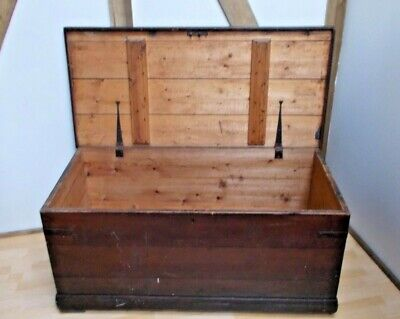 Antique Seaman's Sailors Pine Trunk Chest Coffee Table 19th Century