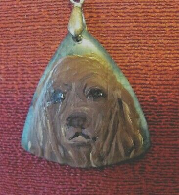 Sussex Spaniel hand -painted on triangular pendant/bead/necklace