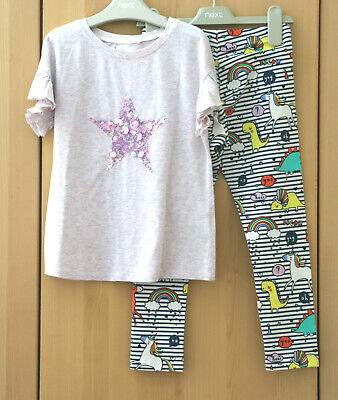 Next Girls Lilac Sequin Top & Muti Dino Leggings Age 7 Years BNWT