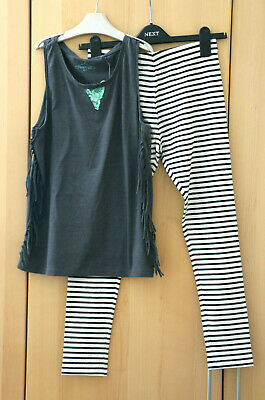 Next Girls Grey Fringe Vest Top & Stripe Leggings Age 13 Years BNWT