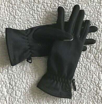 NEW Eddie Bauer Black Touchscreen Compatible Rubber Grip Poly/Spandex Gloves S M