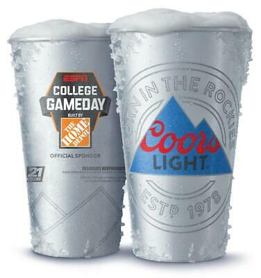 *NEW* Coors Light Cold-Activated Beer Cups(22oz) -2 College Game Day w/ Coasters