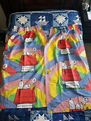 Vintage Peanuts Snoopy Woodstock Drape Set Curtains 2 Panels