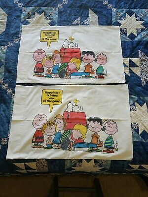 2 Vintage Snoopy Peanuts Charlie Brown & Gang Pillowcases Double Sided