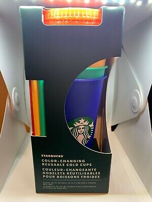 Starbucks 2020 Color Changing Cold Cups Pride Bling Tumbler Paper Pencil Confeti