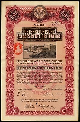 Austria: 4% State Loan, 8 March 1910, 1000 kronen, state buildings, ex BaDV