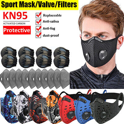 Activated Carbon Mask Reusable Face Cover Set With Breathing Valves Filters Pad