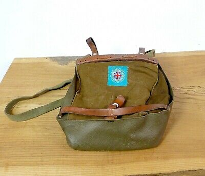 Vintage Swiss Army Military Bread Bag Shoulder ~1960'S Leather Switzerland #2