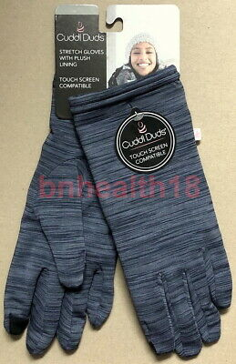 Cuddl Duds Women Stretch Gloves Lining Tech Touch Screen Compatible Blue NWT