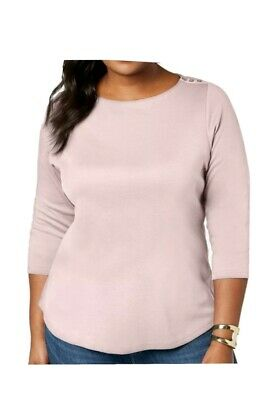 Charter Club Womens Knit Top Misty Pink Size 2X Plus Boatneck Tunic Cotton #08