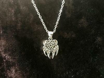 Handcast 925 Sterling Silver Celtic Wolf Claw Paw Pendant w/ Celtic Knot + CHAIN