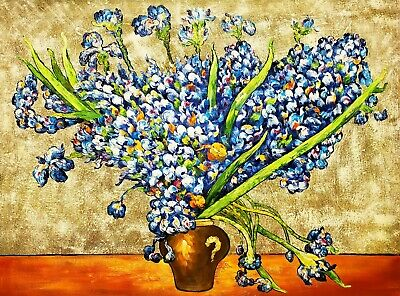 Irises in Vase, Van Gogh, 36x48 Hand Painted Oil Painting Reproduction on Canvas