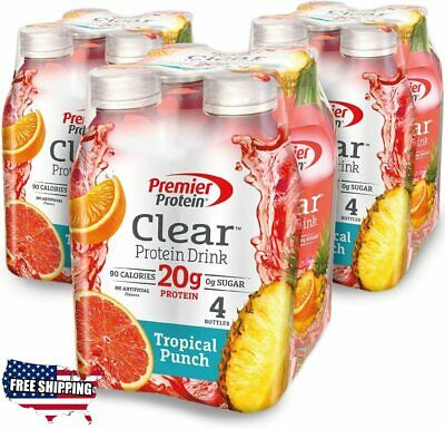 Premier Protein Clear Protein Drink, Tropical Punch, 16.9 fl oz Bottle, 12 Count