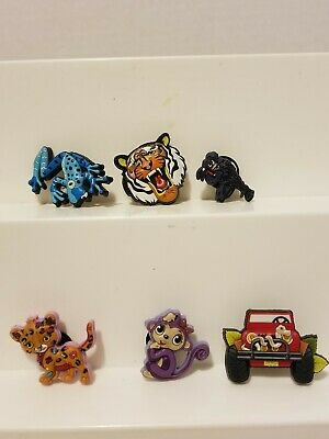 SHOE CHARMS FOR CROC SHOES JIBBITZ Lot of 6 Jeep,Tiger, frog, leppard,monkey