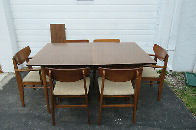 Mid Century Modern Dining Table with Six Chairs with one leaf by Stanley 1239