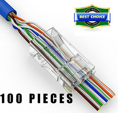 100 Rj45 Pass Through Gold Plated Connectors Cat5/5E Same Business Day Shipping
