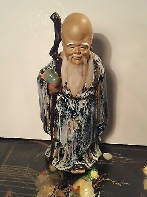 Large Antique Chinese Mudmen Figure Old Man Sage