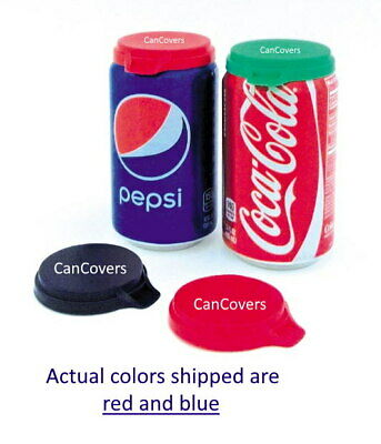 SHIP DELAY with text 3 SODA CAN LIDS POP BEVERAGE CAN COVERS TOPS CAPS RED BLUE