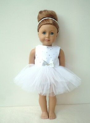 American Girl Our Generation White Sparkle Tutu Handmade 18 Inch Doll Clothes