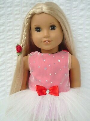 American Girl Our Generation Red Sparkle Valentine Tutu 18 Inch Doll Clothes