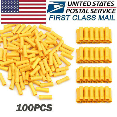 100Pc 12-10AWG BV5.5 Insulated Butt Splice Wire Connector Crimp Terminals Yellow