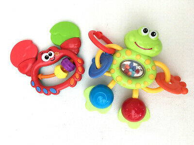 Baby Toys~ Crab Teether Rattle + ELC Frog Sensory Rattle ~ Early Learning Centre