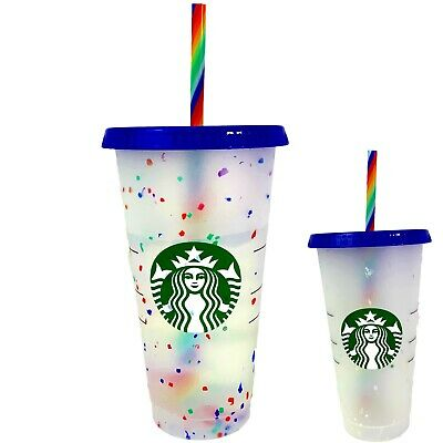 Starbucks Confetti Color Changing Cold Cup Rainbow Straw Pride Summer 2020 Tumbl