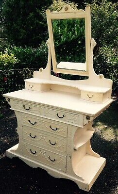 Wonderful Unusual Decorative  Antique Dressing Chest Table Mirror -French ?